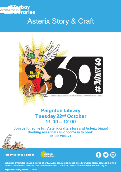 Join us for some fun Asterix craft, story and bingo! Booking essential - call or come in - 01803 208321